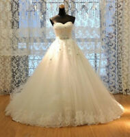 Custom Strapless Sweetheart Tulle+Applique Lace Wedding Dress Bridal Ball gown