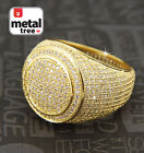 Men's Hip Hop 14k Gold Plated All Around CZ Band Double Round Style Pinky Ring