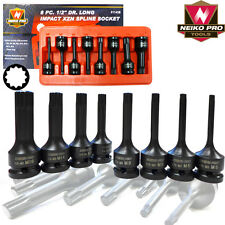 "Automotive 8pc 1/2"" Drive Long Impact XZN Spline Socket Set Auto Shop Tools PRO"