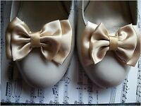 1 PAIR GOLD SATIN DOUBLE BOW SHOE CLIPS VINTAGE STYLE GLAMOUR BOWS 40'S 50'S