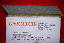 """1 Cs. DA21 2"""" Bright 15 Gauge Angled Finish Nails 16,000 Senco,DeWalt,Hitachi"""