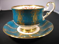 Vtg PARAGON hand painted Cup and Saucer, Teal & Gold, pink cabbage rose, Signed
