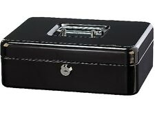 Schwarze Geldkassette mit herausnehmbarem Euro Münzbrett Stahl Geld-Kassette