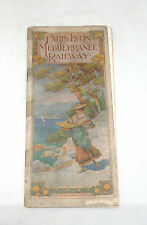 ANTIQUE PARIS LYON MEDITERRANEE RAILWAY RAILROAD BROCHURE PAMPHLET WITH MAP