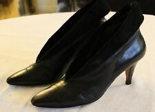 Bally Solid Black Leather Ankle Suede Trim High Heels Boots US Sz Womens 7M Med