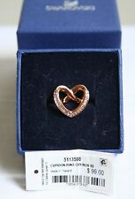 NWT Swarovski Rose Gold Tone Heart Cupidon Crystal Ring 5113590 Size 55 7 M