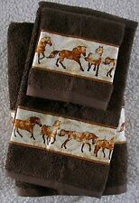 WESTERN/SOUTHWEST DECOR 3 PC TOWEL SET,COCOA BROWN, GORGEOUS UNBRIDLED HORSES