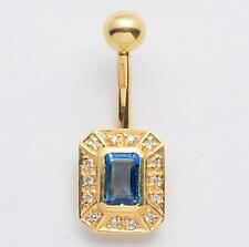 NEW Solid 14KT Yellow Gold Belly Navel Ring w/ DIAMONDS &Blue Topaz 14 Gauge
