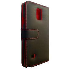 Samsung Galaxy Note 4 Bookstyle Tasche Cover Hülle Wallet Schutz Schwarz Rot