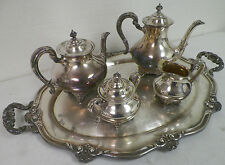 REED & BARTON 5600 REGENT SILVER PLATE 5 PIECE TEA SET COFFEE TEA CREAM SUGAR TR
