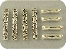 2 Hole Beads Rococo Style Raised Filigree Flourish/Hammered Patterns Metal Qty 8