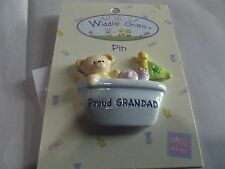 """Widdle Ones Clothes Pin Badge. """"Proud Grandad"""". Handpainted. Free P&P"""