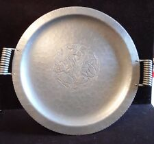 """Vintage Keystoneware  Hammered Aluminum Serving Tray Floral With Butterfly 16""""D"""