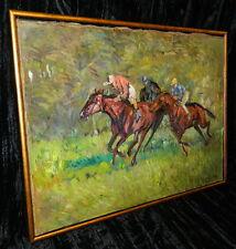 Ölbild Galopprennen Pferderennen signiert Waibl