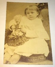 Antique Victorian American Young Girl Crazy Hair Doll Child's Toy Cabinet Photo!