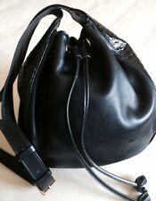Vintage YSL Saint Laurent Black Leather Bucket Style Shoulder Bag
