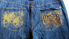 Mecca Embroidered Blue Denim Shorts Mens 40 Orange Yellow Embellished Pockets