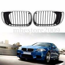Pair Chrome Black Front Hood Grille Grill For BMW E46 3-Series 4DR 2002-2005