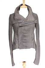 Rick Owens Celebrity Taupe Brown blistered washed leather jacket UK 10