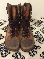 Rare Earth Charlize hazel abstract camouflage leather hiking boots, 7