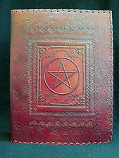 A4 Ring Binder Portfolio or Stamp Album - Luxury Handmade Leather  PENTACLE Sign