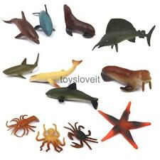 12 Plastic Sea Animals Figure Ocean Creatures Shark Whale Crab Children Toy