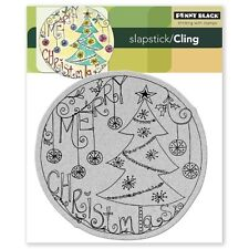 Penny Black Rubber Stamp Slapstick Cling Christmas Around Tree Merry Ornaments
