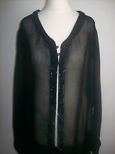 ZARA LONG BLACK CHIFFON SEQUINS TOP SIZE XL UK 14-16