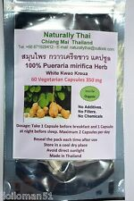 Organic Pueraria mirifica 350mg 120 Vegetarian Capsules - White Kwao Krua