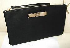 LANCOME FAUX LEATHER BLACK TEXTURED LINED CLUTCH BAG/MAKE-UP BAG   - NEW