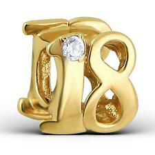 925 Sterling Silver Gold 18th Adult Number Age Birthday Bracelet Charm Bead B668