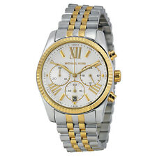 Michael Kors Lexington Chronograph Mother of Pearl Two-tone Ladies Watch MK5955