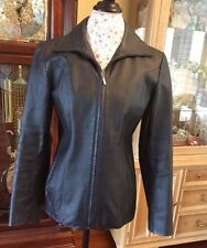 East 5th Women's Black Leather Jacket SMALL Full Zipper Lined GUC!