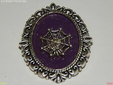steampunk brooch badge gothic spider cobweb purple creepy spooky hallowe'en