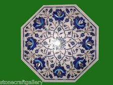 """12""""x12""""  Marble Center Coffee Table Top Lapis Inlay Handmade Work For Home Decor"""