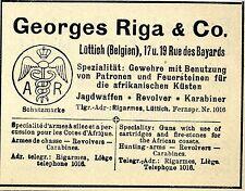 Georges Riga & Co. Lüttich JAGDWAFFEN REVOLVER Historische Reklame von 1912