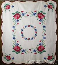 "So Romantic! Vintage 30-50s Red Poppies Applique QUILT 85x76""Vintageblessings"