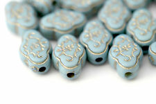 Acrylic Beads Etched Blue Gold Flower Oval 17mm (20)