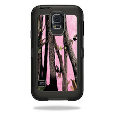Skin Decal Wrap for OtterBox Defender Samsung Galaxy S5 Case Pink Tree Camo