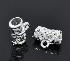 100Pcs Silver Plated  Bail Beads Jewelry Findings