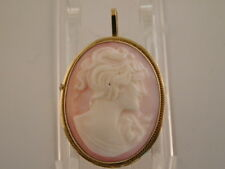 14K GOLD HAND CARVED SHELL CAMEO PENDANT BROOCH PIN PINK VINTAGE 585