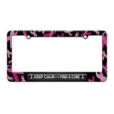 Keep Calm And Find A Cure Breast Cancer Awareness License Plate Frame Ribbon