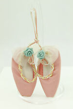 Vintage Pink Cloth Baby Shoes Christmas Ornament Holiday Tree Decoration