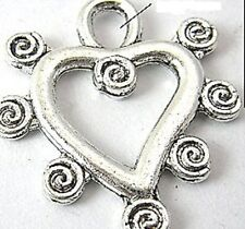 10 x Tibetan Silver Scroll Heart Charms/Pendants Lead & PB Free