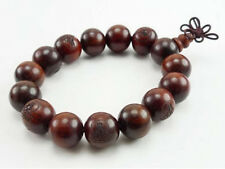 Big Stretchy 14 15mm Red Sandalwood Carved Buddha Prayer Beads Mala Bracelet -7""