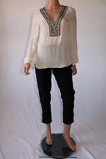 Haute Hippie Ivory Antique Embellished Collar Sequins Long Sleeve Blouse