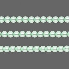 Round Glass Pearls Beads. Light Green 4mm 16 Inch Strand