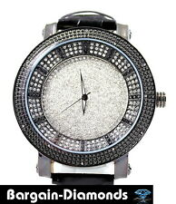mens black diamond 60 mm clubbing ice out watch black dial black leather