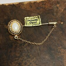Vintage Gold Tone Genuine Opal Lapel Tie Pin with Chain