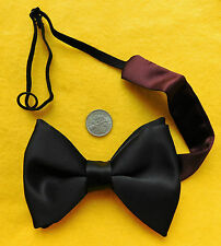 Black bow tie Vintage 1970s 1980s Custom fit to any size Viscose satin